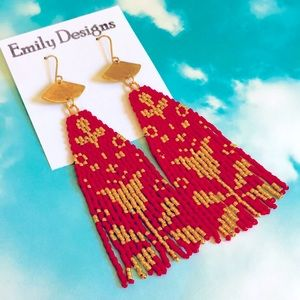 Red/gold beaded mini fringes